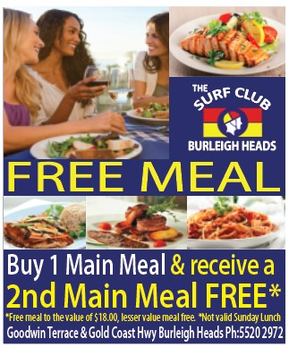 Burleigh Heads Surf Club_Buy one GET 1 FREE (lunch and dinner)
