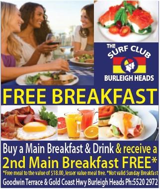 Burleigh Heads Surf Club_Buy one GET 1 FREE (breakfast)